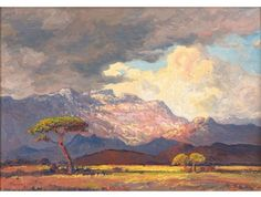 """igormaglica: """" Jacobus Hendrik Pierneef Rainclouds and Sunshine, South West Africa, oil on canvas, 39 x cm """" South Africa Art, West Africa, Landscape Quilts, Landscape Art, African Paintings, Oil Paintings, Cityscape Art, South African Artists, Inspirational Artwork"""