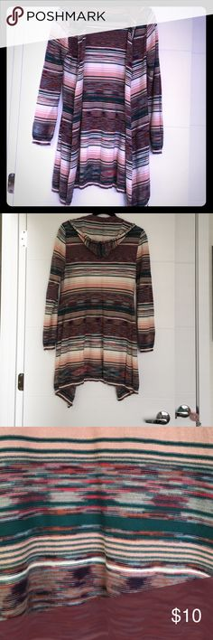 """Long colorful cardigan sweater with hood! Long striped sweater with colors of pink, dark green, white, blue... really pretty pattern! Accented with a hood. It comes down to my knees and I am 5'2"""" (for reference). Size is large but I normally wear a size S/4 so this clearly runs small! It was a gift but I think it is from The Buckle. BKE Sweaters Cardigans"""