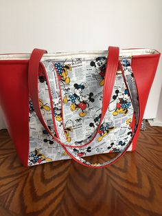 Mickey and Minnie Mouse on Black and Cream Newsprint Background, Everyday Tote with Red Vinyl Accents, Shoulder Bag by JazzyJoDesigns on Etsy