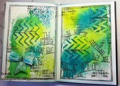 Everything.. Dylusions, Tim Holtz, Distress ink, Prima, Stencils, Pin wheel stencil.