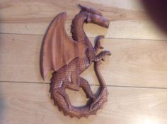 Celtic wood carved dragon by OUTOFTHENORM1 on Etsy, $32.00