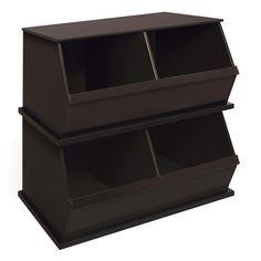 Badger Basket - Stackable Two-Bin Storage Cubby, Espresso