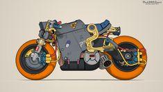ArtStation - Cyberpunk bike, Alexander Berezin Futuristic Motorcycle, Futuristic Art, Motorcycle Art, Bike Art, Armor Concept, Concept Cars, Character Art, Character Design, Graffiti Pictures