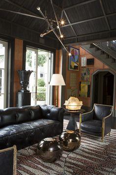 Eclectic vintage living room by Kelly Wearstler