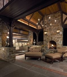 Outdoor kitchen and fireplace.  #patio #outdoors