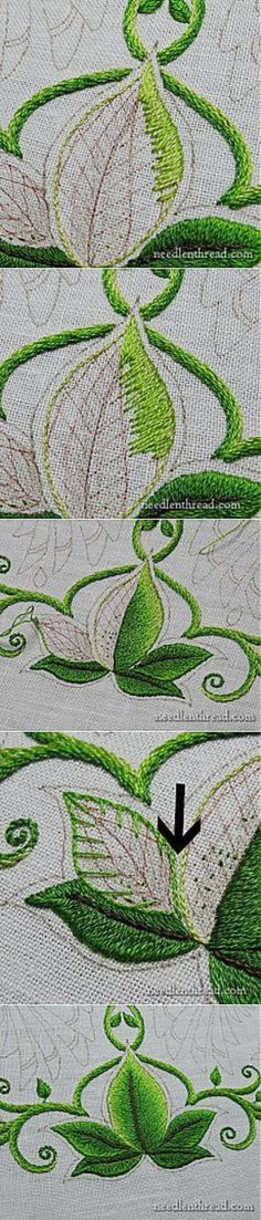 Embroidered leaf shading