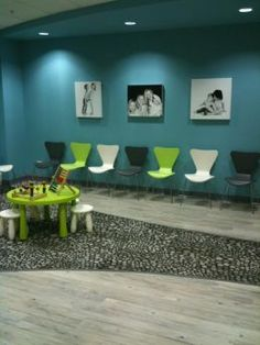 How the style fits together: The colorful waiting room at Brush Pediatric Dentistry.