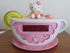 Just listed in our eBay store....cute!  Click photos for details....  Hello Kitty KT2055 Tea Cup Digital Alarm Clock AM FM Radio Nightlight Fairy Kei #hellokitty #fairykei #kawaii #harajuku #clock #alarm #cat #kitty #teacup
