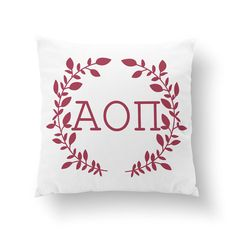 "10"" or 16"" Alpha Omicron Pi Wreath Pillow - Sorority Pillow"