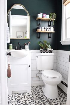 Charming Green Bathroom Colors 66 For Interior Design For Home Remodeling for Green Bathroom Colors Can you Want a good living room decoration concept? Well, for this particular thing, you have to understand about the Green Bathroom Colors. The subje. Upstairs Bathrooms, Downstairs Bathroom, Master Bathroom, Bathroom Accent Wall, Small Wc Ideas Downstairs Loo, Basement Bathroom Ideas, Cloakroom Ideas, Farmhouse Bathrooms, Primitive Bathrooms