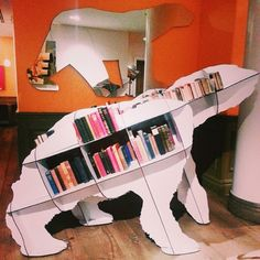 A bear bookshelf, spotted by Team Epic Reads at the Crosby Street Hotel in NYC. The Hortonville-Polar Bear-library needs this! Library Bookshelves, Cool Bookshelves, Bookcase, Bookshelf Ideas, Book Shelves, Bookshelf Inspiration, Book Storage, Inspirational Books, Awesome Things