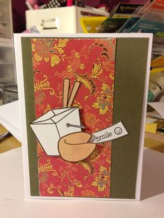 Handmade card by me.  Still loving these stamps. Lawn fawn good fortune