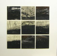Ross Loveday: November Landscape Monoprint Drypoint - carborundum print - admire the atmosphere that has been created. Very moody, mysterious works that really catch my eye and draw me in to attempt to view the works closer (to see the detail). Landscape Drawings, Abstract Landscape, Landscape Paintings, Drypoint Etching, Inspiration Artistique, Atelier D Art, Etching Prints, White Art, Printmaking