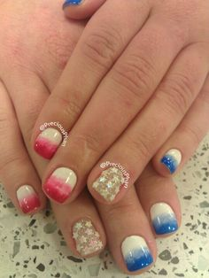 Ombre, stars, red white and blue, 4th of July nails
