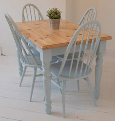 """Here is a wonderful painted legged SOLID pine table. Painted in: Rustoleum """"Duck Egg blue"""" Features a wonderfully toned dupont edge table top & stunningly blue painted legs & trim. For transport & access the table legs can be removed. All our items are refurbished or upcycled, so our products will have minor signs of use …"""