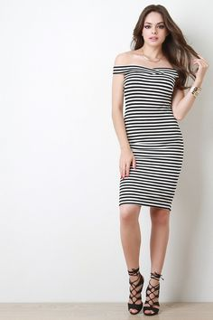 Off The Shoulder Stripe Bodycon Dress