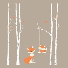 TREES Wall Decal 4 River Birch Trees Nursery Decor FOX Decal Swinging from Branch Wall Decal Forest Woodland Birds Vinyl Baby Bedroom by AmericanDecals on Etsy https://www.etsy.com/listing/246703165/trees-wall-decal-4-river-birch-trees