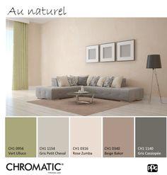 Cette association de différentes tonalités de #beige et de ce #vert mousse est parfait pour créer une atmosphère simple et tranquille, source de bien-être. www.chromaticstore.com