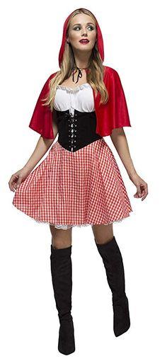 cee5061258f Fever Kollektion Rotkäppchen Kostüm mit Kleid Unterrock und Umhang mit  Kapuze