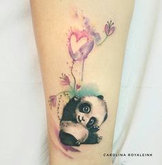 Panda / bear tattoo Love balloon watercolors Carolina Avalle