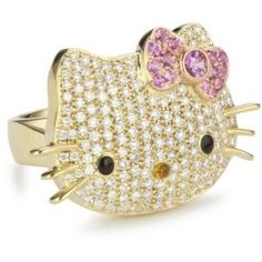 Gold Hello Kitty diamond ring <3 Her bow is made of pink & yellow sapphires awww
