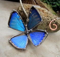 Real Blue Morpho Butterfly on Copper Torc, by DebrasDivineDesigns