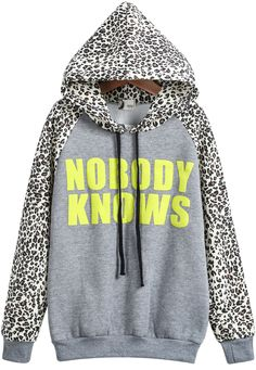 Shop Grey Hooded Contrast Leopard Letters Print Sweatshirt online. Sheinside offers Grey Hooded Contrast Leopard Letters Print Sweatshirt & more to fit your fashionable needs. Free Shipping Worldwide!