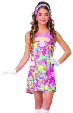 Kids Girls Costume 60s 70s Disco Go Girl Dress Outfit L Girls Large .