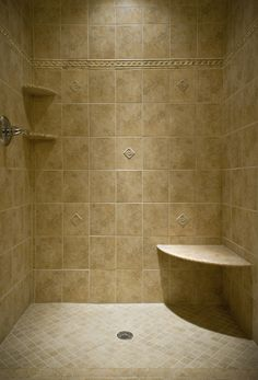 travertine bathroom - with shelves!