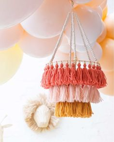 Nothing says PARTY like a handmade tassel chandeliers 🧡💛💖 Diy Crafts For Gifts, Diy Home Crafts, Diy Arts And Crafts, Handmade Chandelier, Diy Chandelier, Pom Pom Crafts, Yarn Crafts, Diy Tassel, Tassels