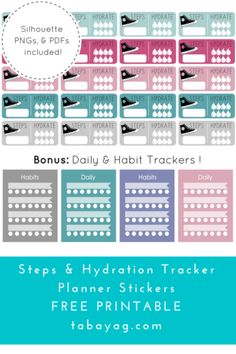PlanIt! Step, Hydration, & Habit Tracker Stickers – Free Printable!