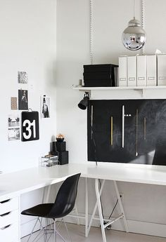 Creative home office. Workspace Inspiration, Room Inspiration, Interior Inspiration, Inspiration Boards, Furniture Inspiration, Home Office Decor, Home Decor, Office Workspace, Ikea Office