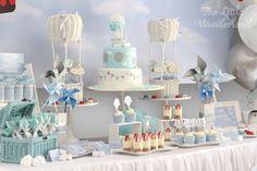Close-up Shot of a Dessert Table from a Hot Air Balloon Birthday Party via Kara's Party Ideas | KarasPartyIdeas.com (17)