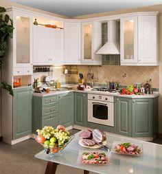 Кухня из МДФ бело-зеленая на заказ в Минске