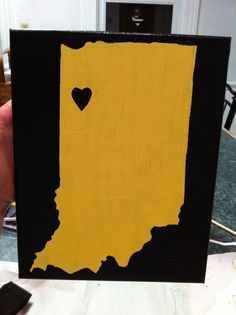 Map of Indiana with heart on Purdue University: Paint on 8x10 canvas with acrylic.