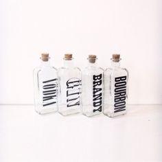 VINTAGE brandy bourbon gin vodka decanters, for TYPOHOLICS