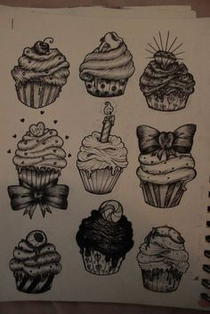 Cupcake tattoo ideas. I like the 1st, 4th, 5th, and 6th. The 6th is my absolute favorite.