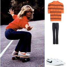 Farrah Fawcett (in denim flares and Nike classics on a skateboard) 70s Inspired Fashion, 70s Fashion, Denim Fashion, Womens Fashion, Fashion Trends, Seventies Fashion, 80s Fashion Icons, 70s Vintage Fashion, Fashion Shoes