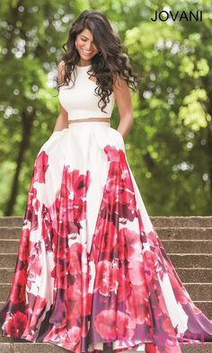 Image of long two piece floral print dress Front Image