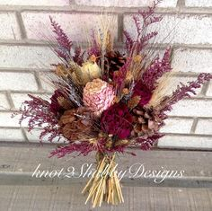 Fall bridal bouquet - dried flowers - peonies - peony - pinecone bouquet - wheat…