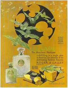 Roger et Gallet Perfumes Le Jade, a light green perfume, in a crackled glass flacon Vintage Ephemera, Vintage Ads, Vintage Prints, Vintage Posters, Retro Posters, Le Jade, Vintage Makeup, Vintage Beauty, Old Ads