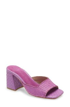 This woven slide sandal with a chunky heel is more charming than a picnic in the park. Style Name:Jeffrey Campbell Melange Woven Slide Sandal (Women). Style Number: Available in stores. Lilac, Purple, Picnic In The Park, Jeffrey Campbell, Slide Sandals, Chunky Heels, Luxury Branding, Open Toe, Heeled Mules