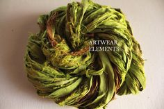 Sari Silk, Apple Zinger, Fair Trade, 5 Yards, OOAK Silk Canvas Series, Textile, Unique Ribbon, Silk Ribbon, Art Yarn, Artwear Elements™  148