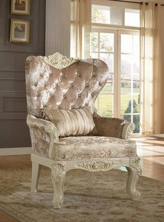 Shop Meridian Furniture Grace Pearl White Chair with great price, The Classy Home Furniture has the best selection of to choose from Accent Furniture, New Furniture, Primitive Bedroom, Meridian Furniture, Fabric Armchairs, Traditional Furniture, White Fabrics, Living Room Chairs, Wingback Chair