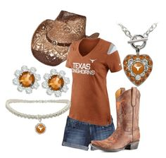 """""""Flirties Texas Longhorns"""" by flirties ❤ liked on Polyvore featuring True Religion, Gameday Boots, NIKE and Longhorns"""
