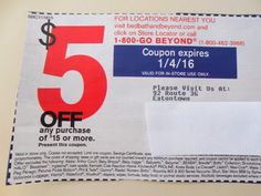Bed Bath Beyond Save $5 Coupon Black Friday Holiday Shopping Spend $15 Or More!!