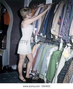 Michelle Desange shopping in the Lady Jane Boutique, Carnaby Street, London, November 1967. Stock Photo