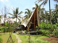 'Green Village' by Ibuku Studio, Indonesia - Decoration - Design - Interior Design - Ideas - Furniture - Dream Home - Resort - Green Village - Bali - Indonesia - Bamboo - Ikubu Studio Bamboo Village, Interior Tropical, Bamboo Building, Green Building, Bamboo House Design, Bamboo Structure, Bamboo Architecture, Architecture Interiors, Eco Friendly House