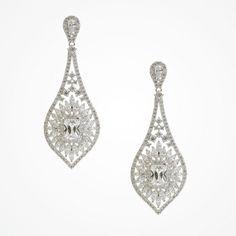 Vintage-inspired long drop crystal earrings   Jefferson earrings   Ivory and Co