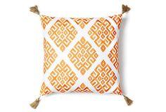 Greek Key 18x18 Pillow, Orange on OneKingsLane.com